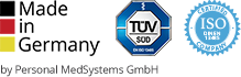 Logos Made in Germany, ISO Certification and TÜV SÜD.