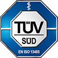 Logo of the TÜV SÜD - CardioSecur is an approved medical device complying with EN ISO 13485 and certified by the most demanding notified body in Germany, TÜV SÜD