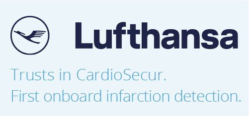 Lufthansa trusts in CardioSecur. 1. infarction detection in the air. Now available on board of all Lufthansa long-haul flights.